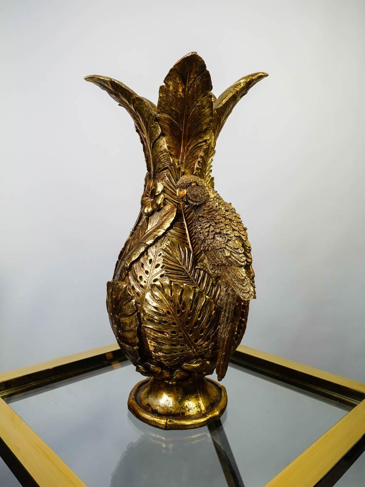 Golden Parrot Vase